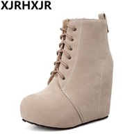 Women Fashion Wedges Boots Big Size Ankle Boots High Heel Sexy Platform Boots Nightclub Pumps Casual Dress Boots Shoes Gladiator