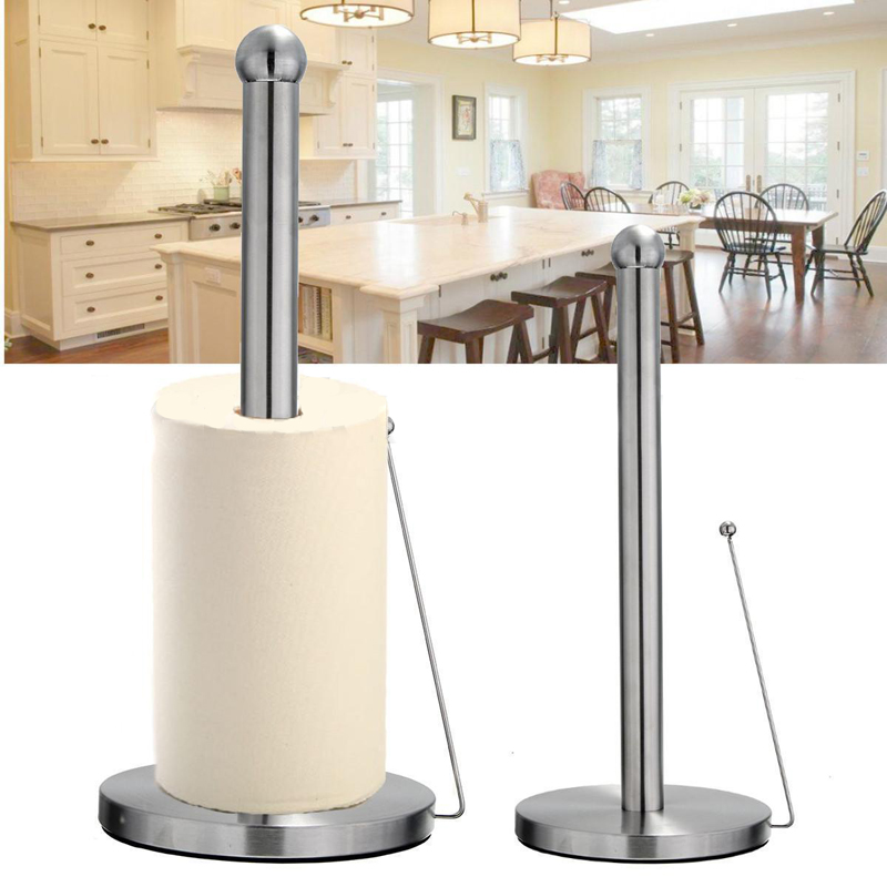 New Stainless Steel Paper Tissue Towel Kitchen Roll Stand Holder For Bath Bathroom Paper Standing Tool