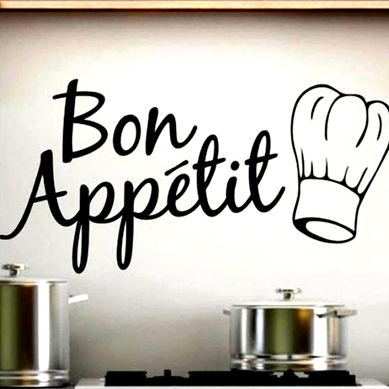 2016 New Design Bon Appetit Quote Living Room Kitchen Vinyl Wall Mural Decal Sticker Wall Decoration Sticker
