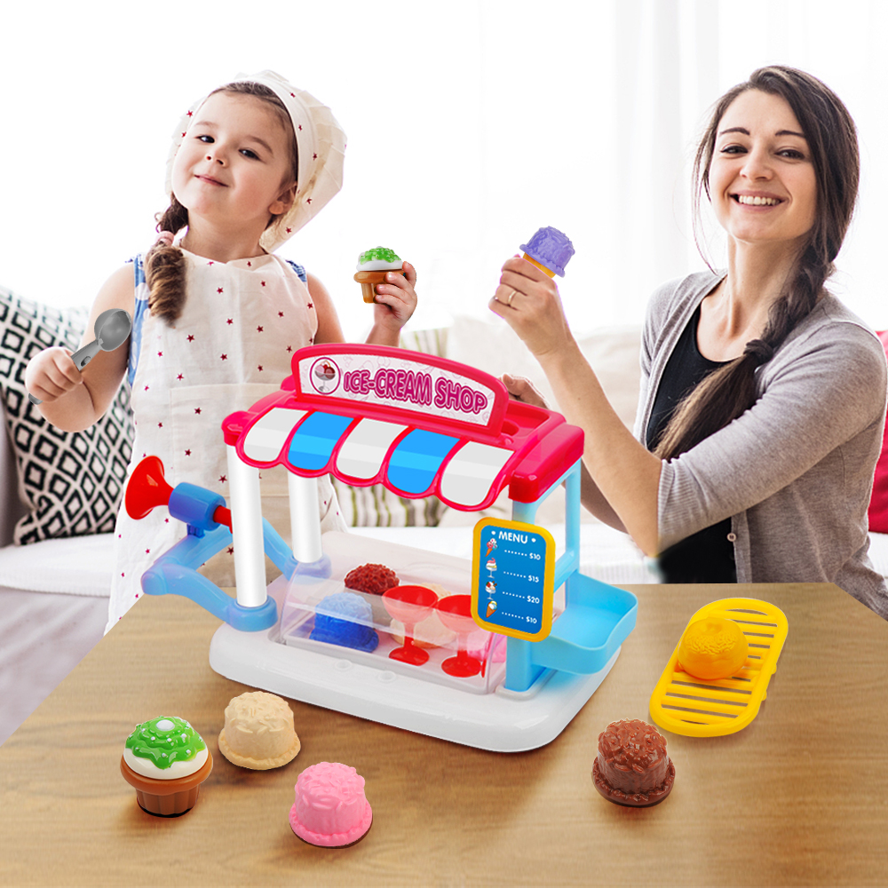 31pcs Children Pretend Play Toy Set Ice Cream Shop Toys Kids Pretend Play Cooking Tableware Sets toys for children Gifts