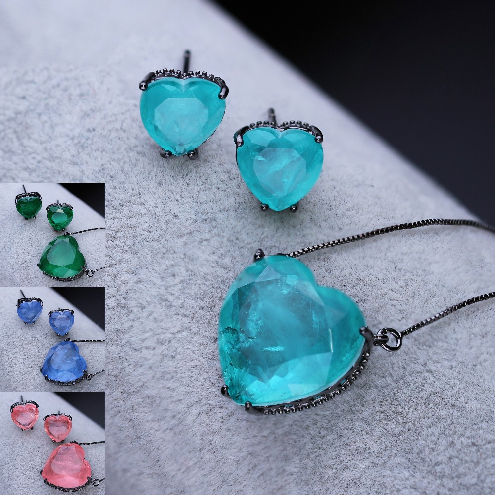 Trendy Heart Shape Jewelry Set 18.2mm Fusion Stone Pendant Necklace & Stud Earrings for Women Jewelry SFX0011022 stylish hollow out heart shape pendant necklace with owl for women
