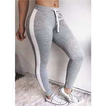2018 fashion striped shaped Hip Sports women Pants Elastic Skinny Sportswear pencil pants Gym Clothes Fitness Bodycon trousers