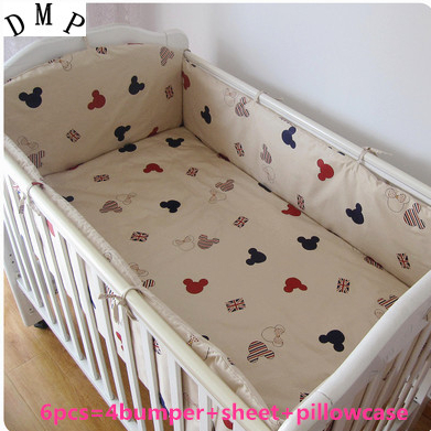 Promotion! 6PCS 100% cotton crib bedding piece set baby bedding . bed sheets ,include (bumpers+sheet+pillowcase)