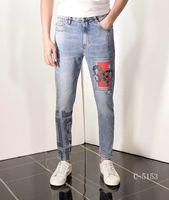 AH0421 модные мужские джинсы 2019 подиумная Роскошная известная марка европейский дизайн вечерние стиль мужская одежда
