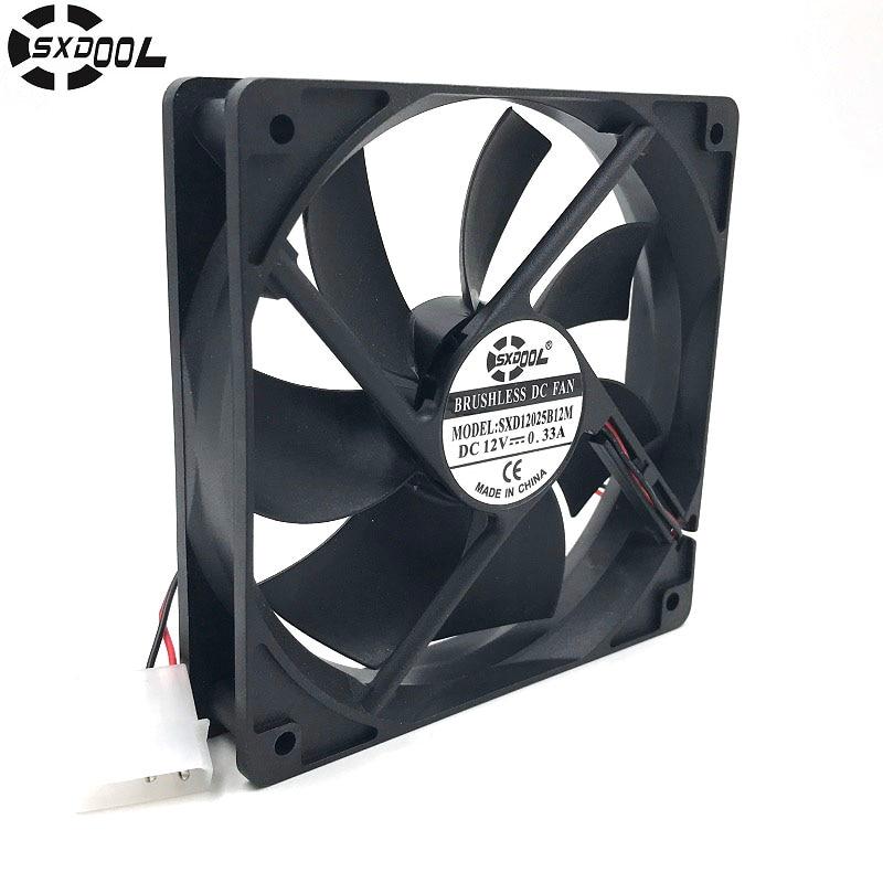 SXDOOL SXD12025B12M 120*120*25mm 12cm DC 12V Brushless cooling fan 0.33A 2000RPM 79CFM 36DBA 4D For server inverter case sunon axial blower fan 220v 12cm 120 120 25mm 12025 12cm case fan