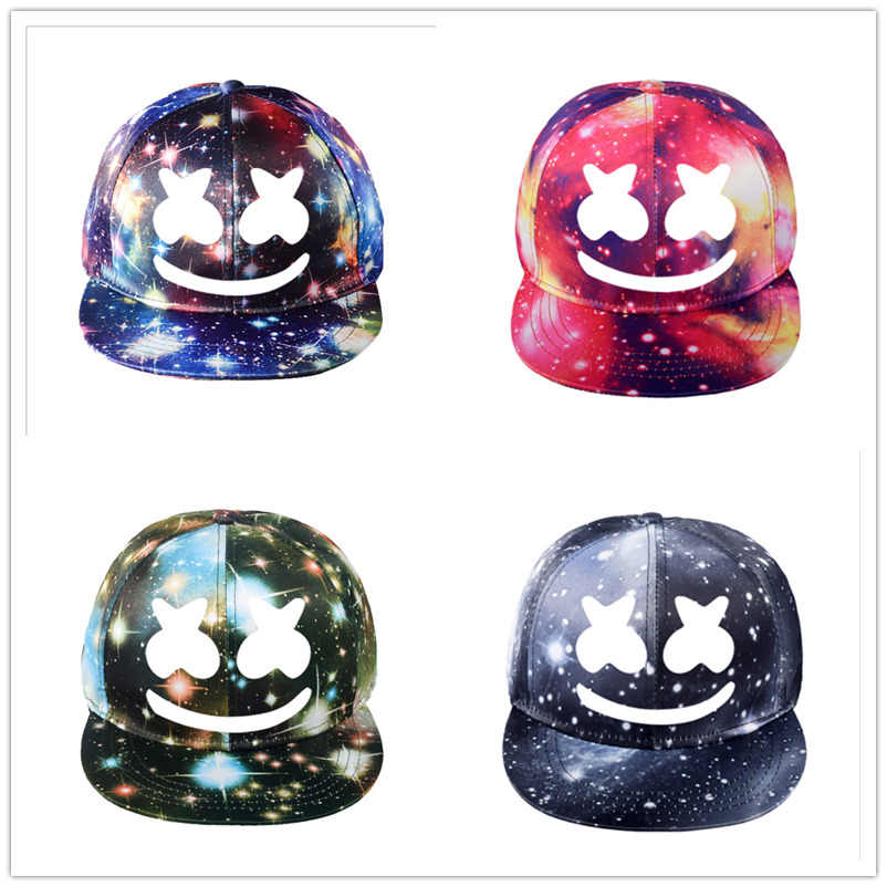 DJ Marshmellow Hat Game Around The Starry Hat Flat Cap Korean Version of Men and Women Visor Canvas Cap Baseball Cap Adjustable