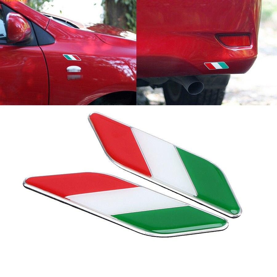 2X Auto 3D Italie Drapeau Italien Emblème Badge Sticker Autocollant Fender Styling Pour Ferrari Panda Kia VW Golf Polo Ford Chevys