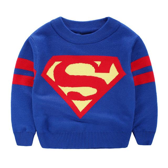 2-8 T crianças Marca meninos camisolas crianças primavera inverno camisolas Casual Superman mangas compridas outono kintting camisolas para crianças menino