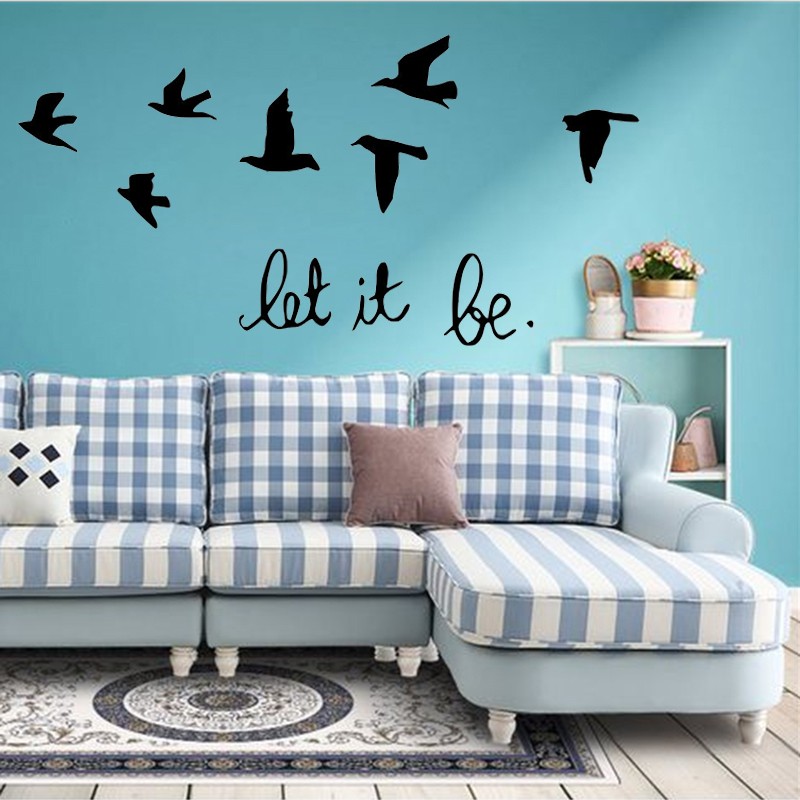 fekete hagyja, hogy a levelek madarak repülnek falra matricák - Lakberendezés