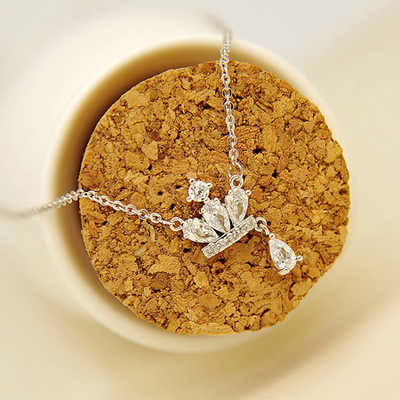 Настоящее серебро 925 проба длинный Циркон Корона ожерелья Кулон Мода Стерлинговое Серебро-ювелирные изделия заявление ожерелье для женщин