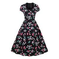 Sisjuly Women Summer Print Dress Female Floral V Neck Dresses Sleeveless Mid Calf Female Vintage Style