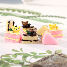 10pcs Resin Bear cake Decoration Crafts Kawaii Flatback Cabochon Embellishments For Scrapbooking DIY Accessories Butto