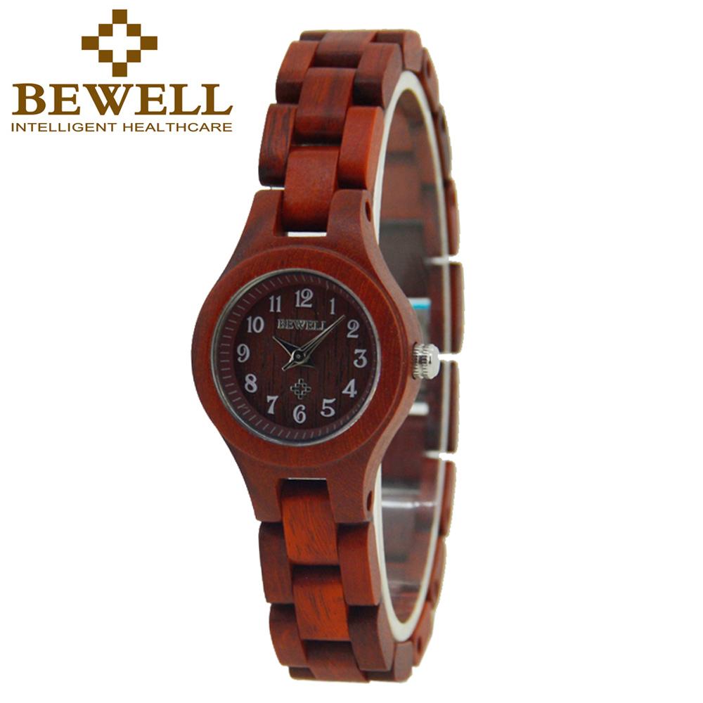 Prix pour Bewell bois montre femme populaire dames petit femmes de montres à quartz mouvement montres en bois outil de réparation kit papier boîte 123a