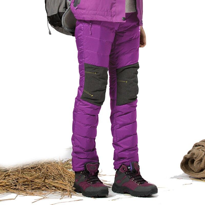 Norte de la nieve de invierno gruesa térmica de pato caliente abajo pantalones d