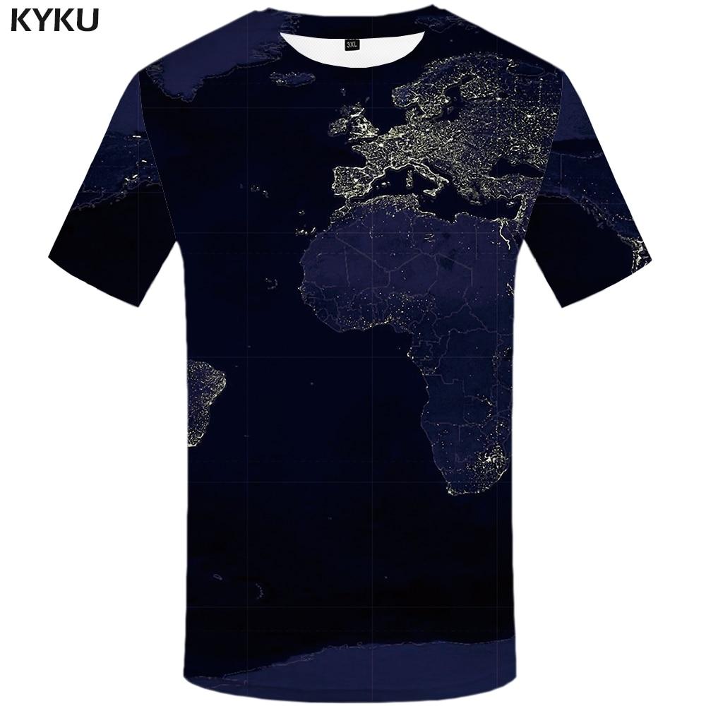 KYKU Brand World Map T-shirt Men 3d T Shirt Funny Shirts Blue Punk Rock Clothes Anime Printed Tshirt Harajuku Mens Clothing