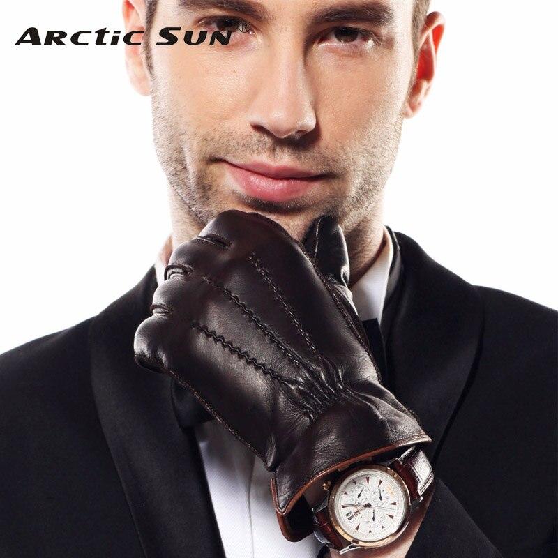 HOT SALE Men's Genuine Leather Gloves Swallow Tailed Design Winter Sheepskin Glove Velvet Lined Gloves Male EM009WQF