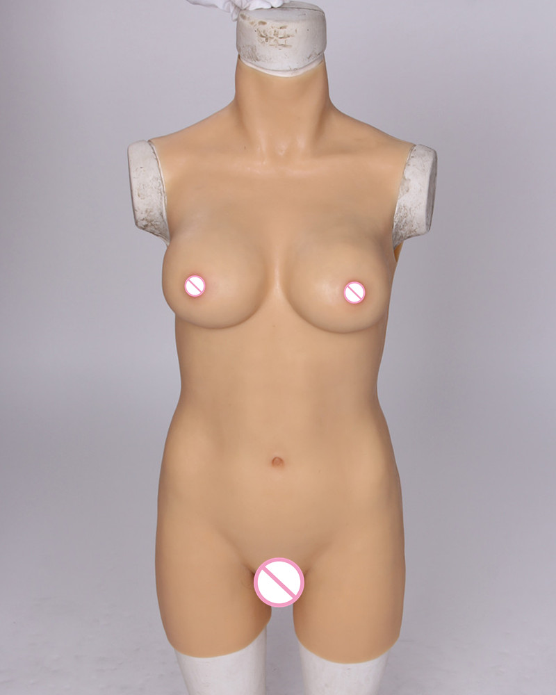 C Cup Silicone Tight Dress Cross Dressing Costume Props Siamese TG Real Silicone Breast Forms Vagina Crossdress Breast Implants [sf a4][c cup] cosplay party film stage play crossdress props silicone breast forms combine with full head mask fix with string