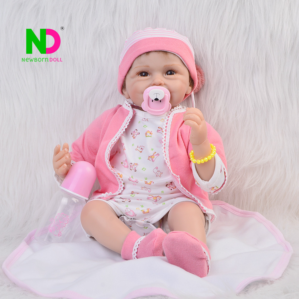 Lifelike 22 inch Silicone Vinyl Reborn Baby Doll Princess Baby Toys Lovely Newborn dolls For Girls Kids Birthday Gift  55 cm high end handmade chinese dolls ancient costume tang princess jin yang jointed doll articulated kids toys girls birthday gift