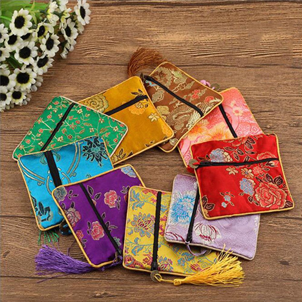 High Quality 1 Pcs Fabric Floral Jewelery Bag Packaging Trendy Exquisite Quartet Silk Brocade Tassel Handbags Jewelry Tips Bag