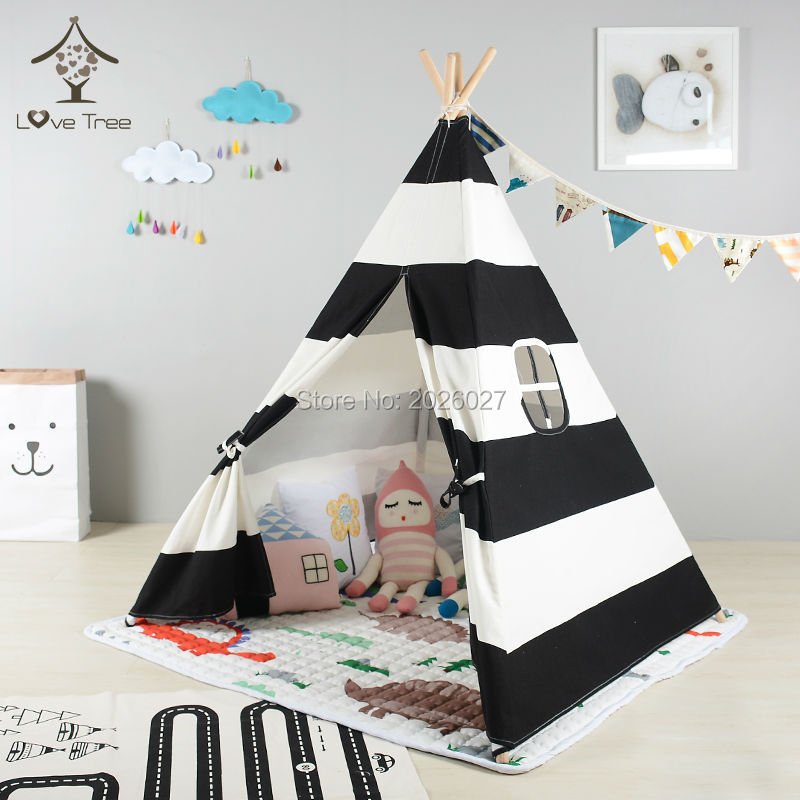 LoveTree Teepee Black and White Stripes Cotton Canvas Teepee Indian Tent Four Poles Teepee Tent Kids tent free shipping kid tent indian teepee tents