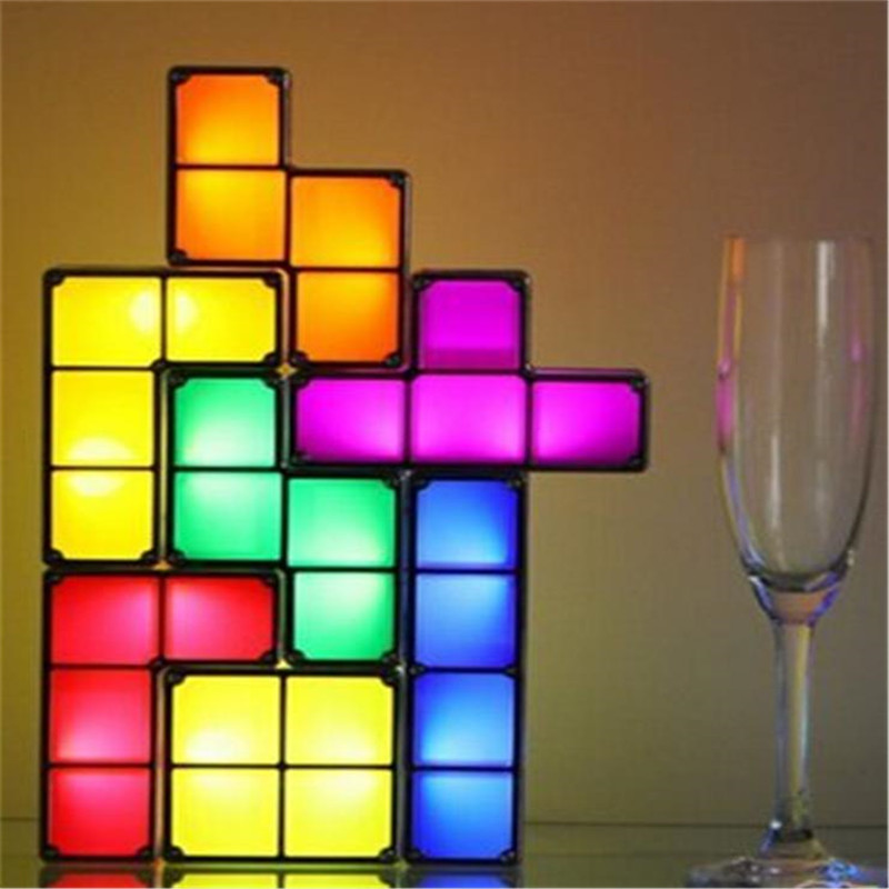 Tetris Puzzle Lamp LED Constructible Block Table bed small Decorative Stackable Night Light Novelty magic cube Christmas gift цены