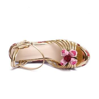 Cuñas Con Estampado Floral | Phoentin Sandalias De Cuña De Plataforma Con Flor De Impresión Tobillo Hebilla Oro Zapatos De Mujer De Tacón Alto 11cm Sandalias De Cuero Hechas A Mano FT387