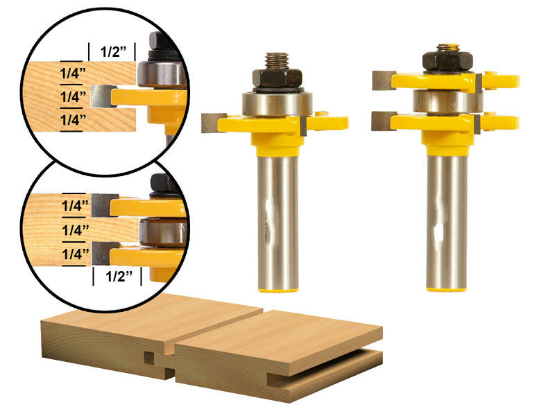 Matched Tongue and Groove Router Bit Set 1/2 Shank wood Engraving Machine Milling High-quality Mill wood router bits high grade carbide alloy 1 2 shank 2 1 4 dia bottom cleaning router bit woodworking milling cutter for mdf wood 55mm mayitr