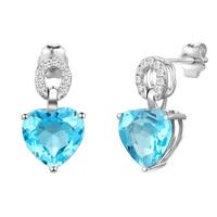 DOUBLE RING Real 18K White Gold Diamond Earrings Women Heart Drop Earrings Personalized Customized Gift Ladies