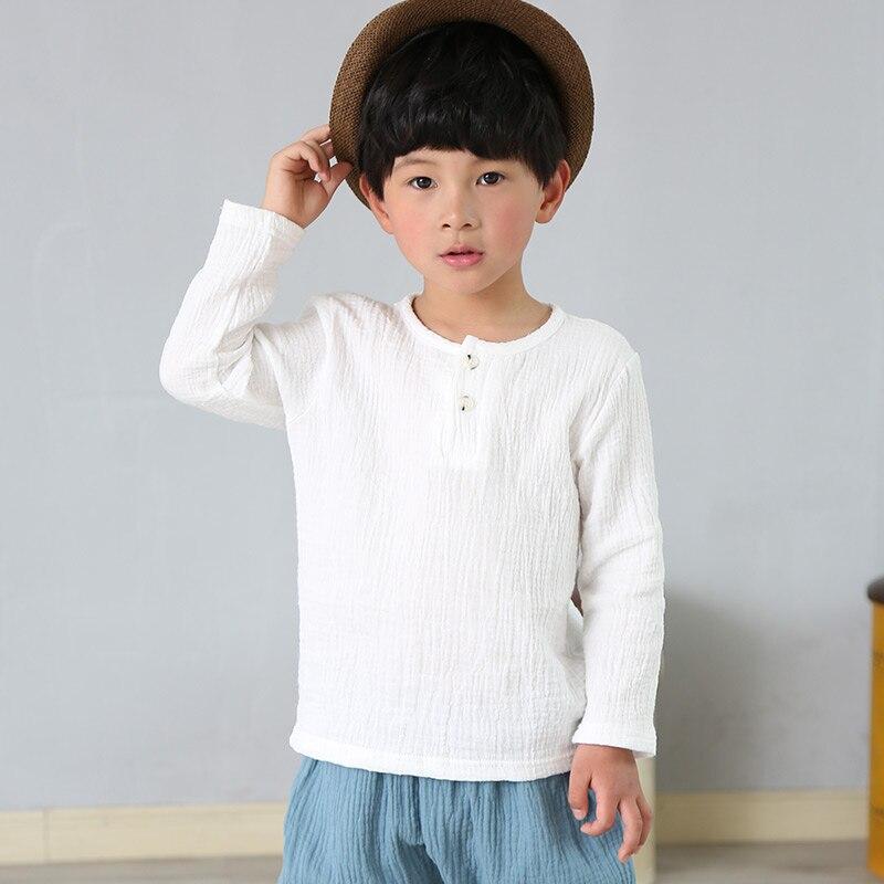 Весенняя футболка для мальчиков и девочек, льняные плиссированные однотонные Детские Топы с длинным рукавом для мальчиков, футболки для ма...