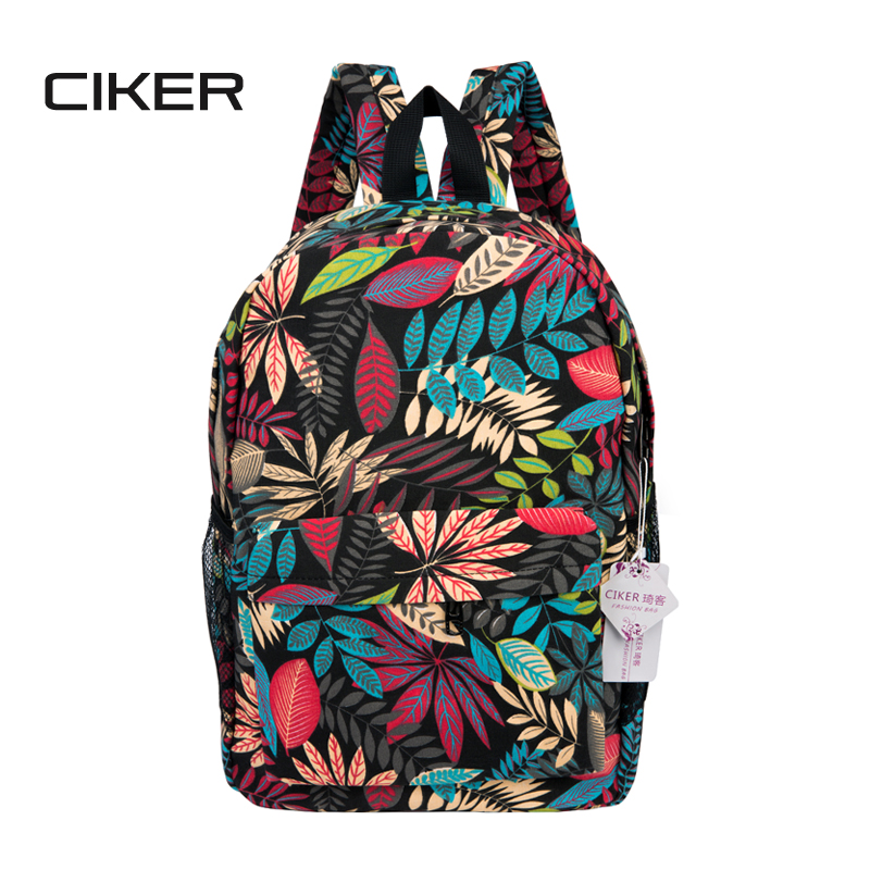 CIKER New nylon backpacks for teenage girls fashion leaves printing backpack women mochila casual shoulder school bag travel bag