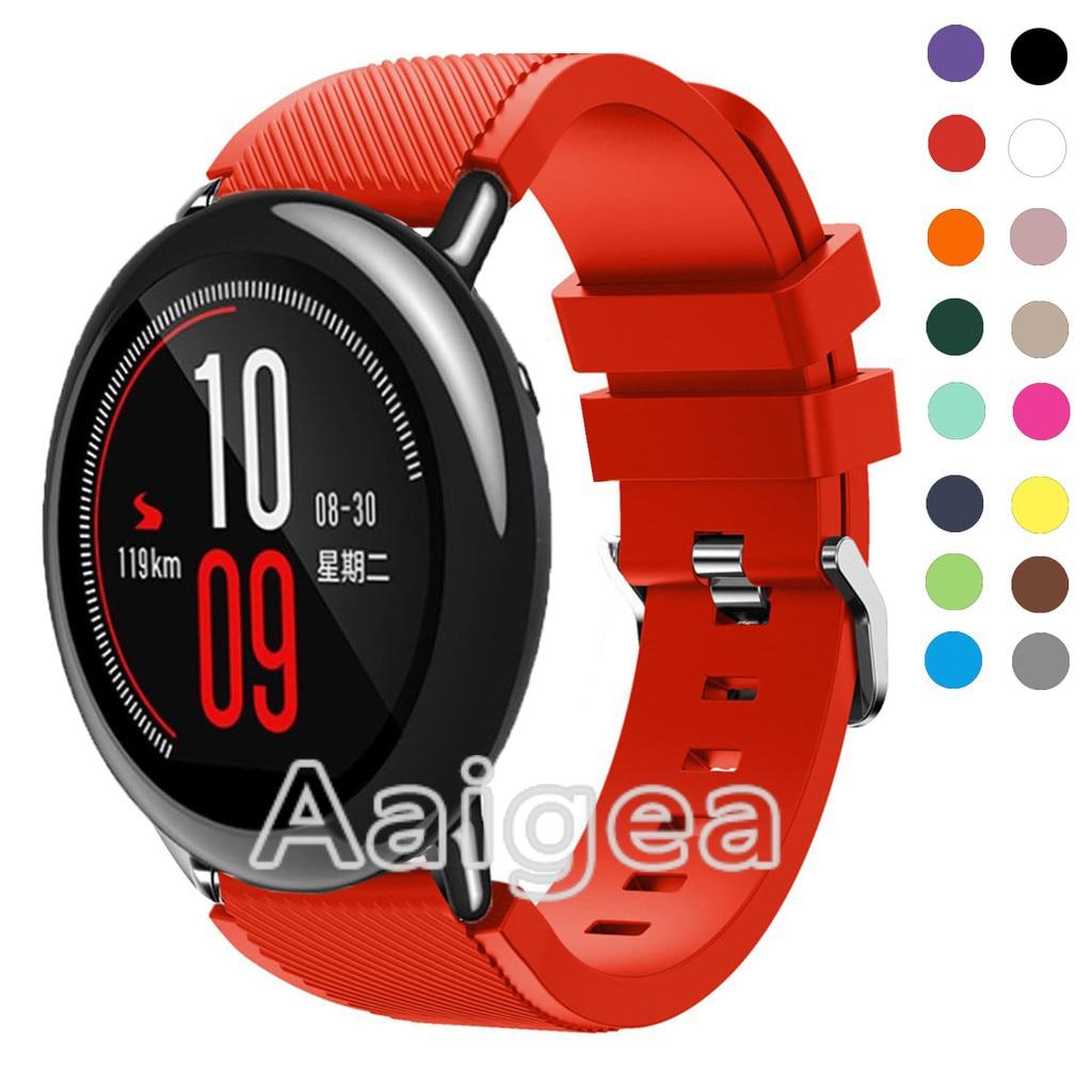 Correa de Metal para reloj de silicona para Xiaomi Huami Amazfit Pace pulsera de repuesto colorida para reloj deportivo Amazfit Strato 2