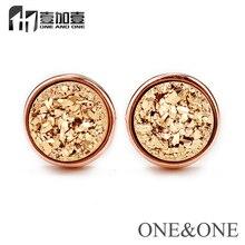 Popular Women Jewelry Natural druzy Stud Earrings Round Gold 6mm drusy Earrings free shipping