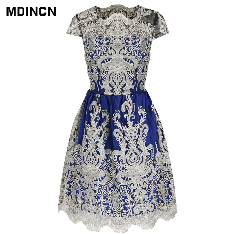 2019 Explosion Models Women's Summer Casual Dress Fashion Retro Mesh Embroidery Pettiskirt Dress Female LR4