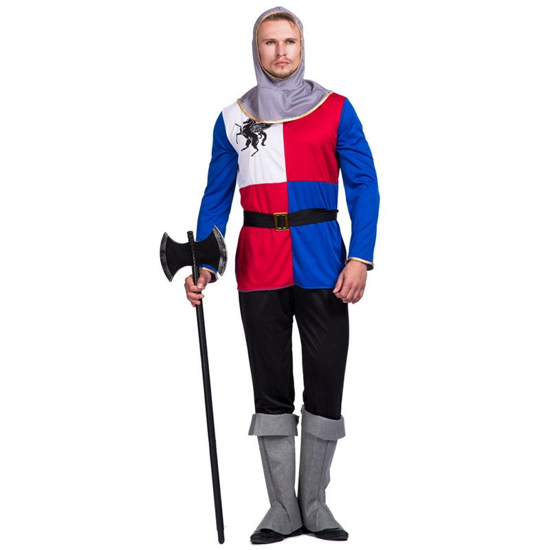 Mens Medieval Knight Costume Crusader Warrior Adult Fancy Dress Outfit