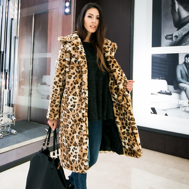 Women's Fashion Hairy Shaggy Leopard Faux Rabbit Fur Lapel Collar Long Sleeve Coat Outerwear Loose Overcoat Jacket  -  Sexy Woman Line store