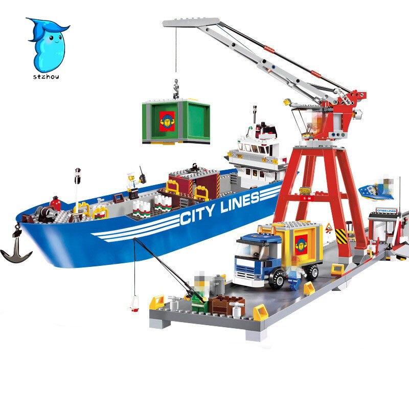 StZhou Mi Ni Wan Dou 695pcs City Series Super Cargo Port Terminal Lepin Building Block Compatible Brick Toy lepin 02036 298pcs city truck building block compatible 3221 brick toy