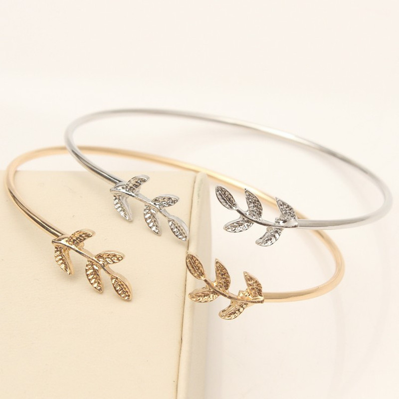 European and American fashion simple gold silver bracelet ladies opening adjustable leaf bracelet bracelet popular open bracelet in Bangles from Jewelry Accessories