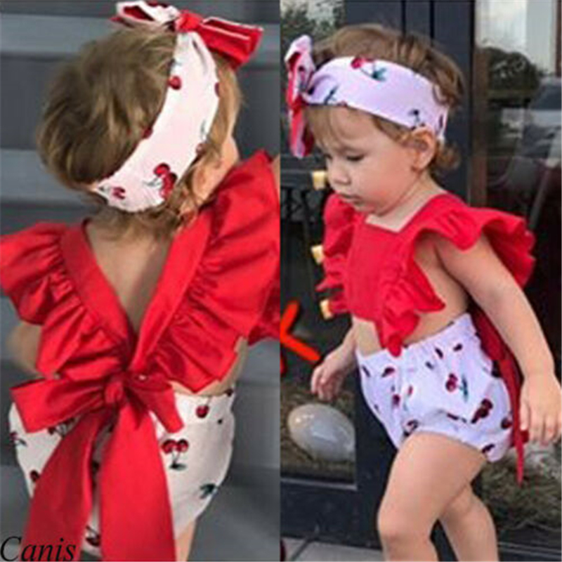 Baby Girl  Big Bow Patchwork Bodysuit Outfits Summer Set Hot New Newborn Baby Girl Clothes Fly Sleeve Cherry Backless Bodysuit