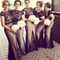 2016 Gothic Arabic Wedding Bridesmaid Dresses Bateau Cap Sleeves Floor Length Formal Black Lace Mermaid Bridesmaid Dresses
