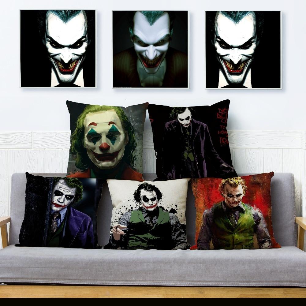 Horror Clown Joker Print Cushion Cover Beige Linen Pillow Covers 45*45 Throw Pillows Cases Sofa Home Decor Pillowcase