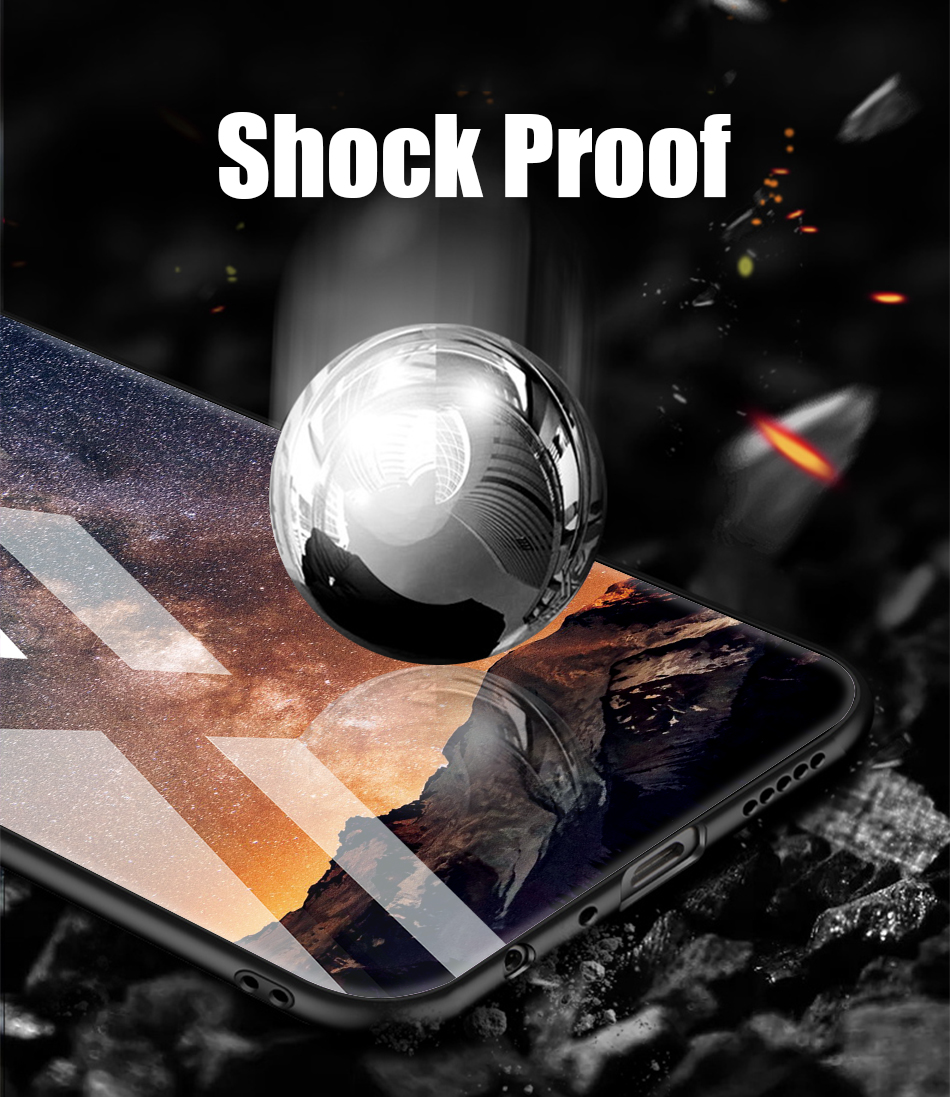 TOMKAS Tempered Glass Silicone Case For iPhone XS Max XR Star Space Cover Phone Case For iPhone X S XS Plus XR 10 Luxury Cases X (8)