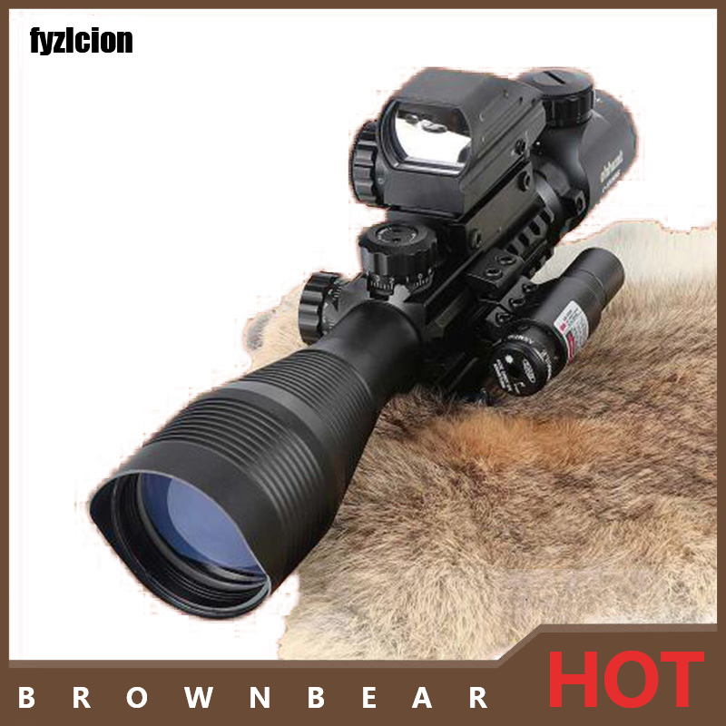 Fyzlcion Hunting AR 4-12X50EG Tactical Air Gun Red Green Dot Laser Sight Scope Holographic Optics Rifle Scope 3 10x42 red laser m9b tactical rifle scope red green mil dot reticle with side mounted red laser guaranteed 100%