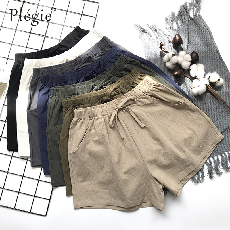 Plegie Summer Shorts Women Cotton Linen Shorts Trousers Feminino Women's High Elastic Wasit Home Loose Casual Shorts With Pocket