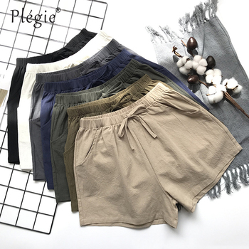 Plegie Summer Shorts Women Cotton Linen Shorts Trousers Feminino Women's High Elastic Wasit Home Loose Casual Shorts With Pocket цена 2017