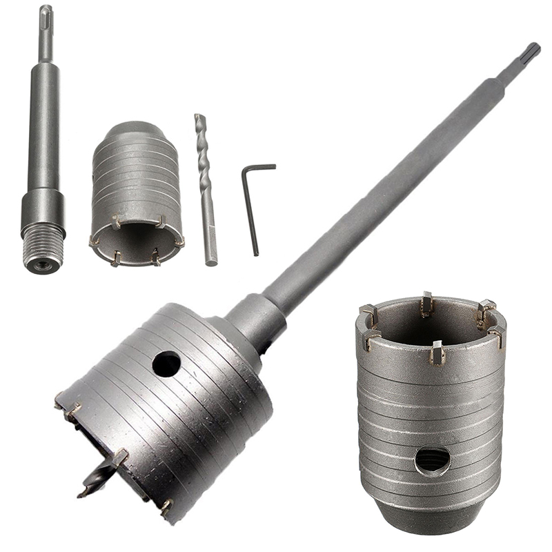 New 50mm Wall Hole Saw Drill Bit Set + 200mm Connecting Rod with  Wrench Mayitr For Concrete Cement Stone new offer of 3pcs set wall saw tool kit 1pc wall hole saw 110mm m22 with 1pc sds plus extension rod 330mm with1pc central drill