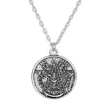 Nordic Belief Faith Pentagram God Amulet Tag Double-sided Necklace Vintage Retro Silver Color Alloy Pendant Women Men Jewelry(China)