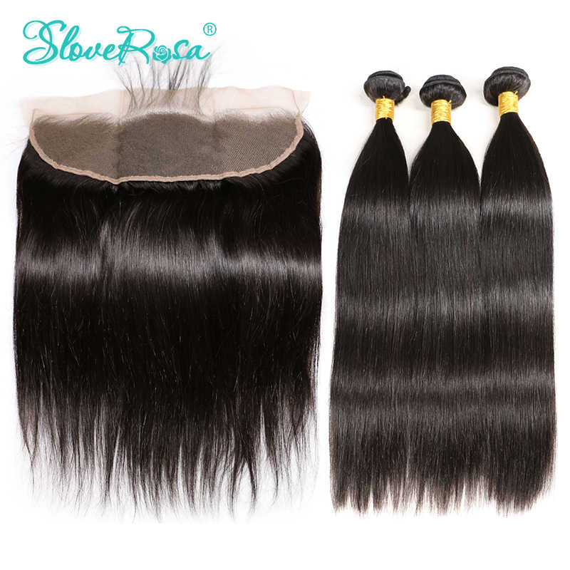 Lace Frontal Closure With Bundles 3 Pcs Human Hair With Ear to Ear Lace Frontal Pre Plucked Remy Straight Slove Rosa Product