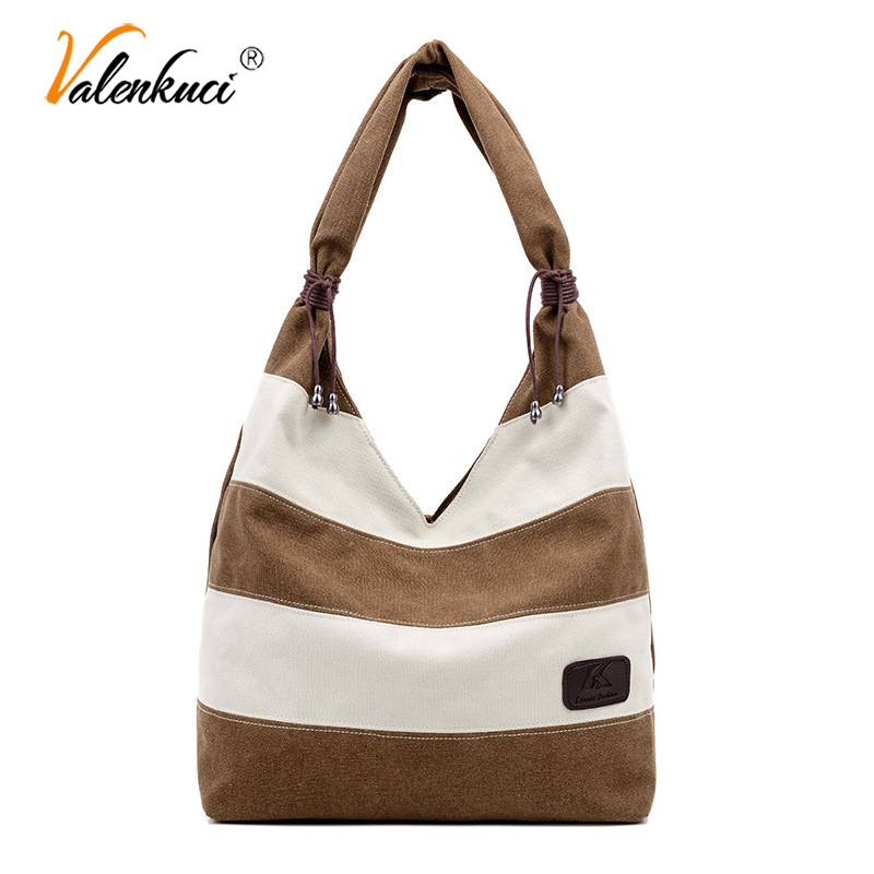 Women's Bag Striped Shoulder Bag Canvas Simple Shopping Bag Tote Handbags Mochila Bolsas