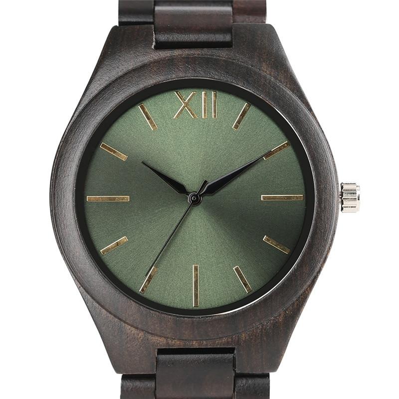 Brief Wooden Watch Celadon Green Satin Dial Nature Sandalwood Bracelet Simple Men Women Wristwatch Dress Unisex Full Wood Clock