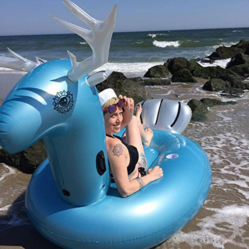 270cm Giant Inflatable Blue Elk Pool Float Deer Mascot Ride-On Swim Toys Water Plaything Air Lounger Beach Party For Adult Child